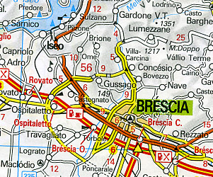 Italy, NORTH and SOUTH, Road and Shaded Relief Tourist Map.