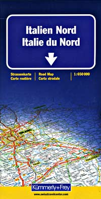 Italy, Northern Road and Shaded Relief Tourist Map.
