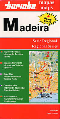 Madeira Island, Road and Tourist Map, Portugal.
