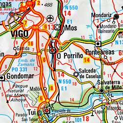 Portugal Road and Shaded Relief Tourist Map.