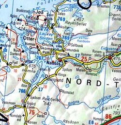 Scandinavia North Road and Shaded Relief Tourist Map.