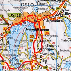 Scandinavia South Road and Shaded Relief Tourist Map.