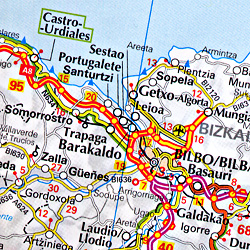 Spain and Portugal, Road and Shaded Relief Tourist Map.