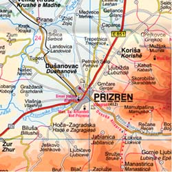 Kosovo Road and Physical Tourist Map.