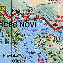Montenegro Road and Tourist Map.