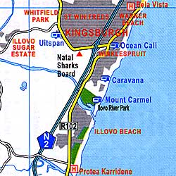 Durban Pocket Map, South Africa.