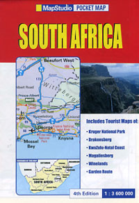 """South Africa """"Pocket"""" Road and Shaded Relief Tourist Map."""