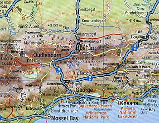 South Africa, Road and Shaded Relief Tourist Map.