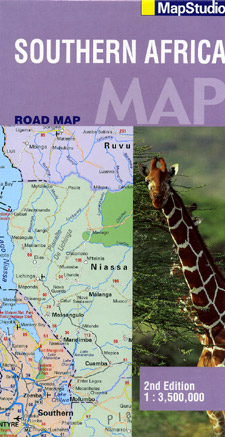 Southern Africa Road and Shaded Relief Tourist Map.
