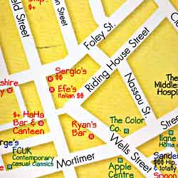 LONDON Illustrated Pictorial Guide Map, England, United Kingdom.
