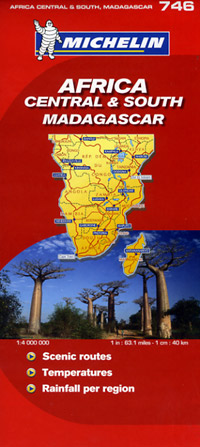 Africa Central and South Road and Tourist Map.