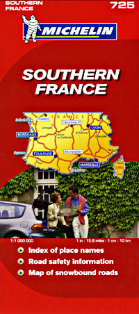 France Southern Road and Shaded Relief Tourist Map.