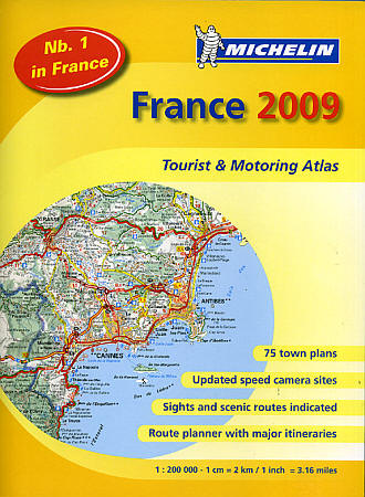 Michelin France Tourist and Motorist Shaded Relief Road ATLAS.