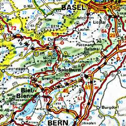 Germany, Austria, Czech Republic and Benelux Road and Shaded Relief Tourist Map.