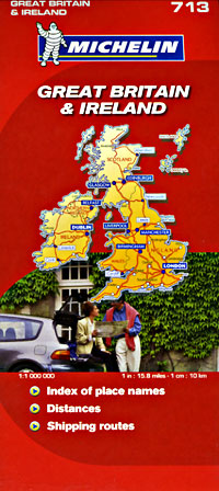 Great Britain and Ireland, Road and Physical Map.