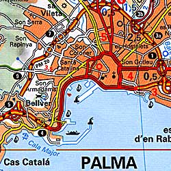 Balearic Isles Road and Shaded Relief Tourist Map (including Mallorca, Menorca, and Ibiza), Spain.