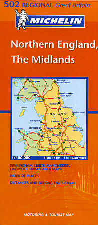 Northern England and The Midlands #502 Regional Road and Tourist Map.