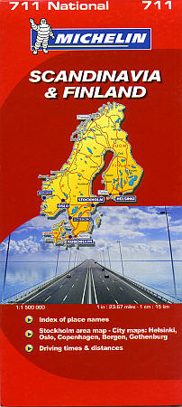 Scandinavia (Denmark, Norway and Sweden) and Finland, Road and Tourist Map.