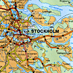 Scandinavia (Denmark, Norway & Sweden) and Finland, Road and Tourist Map.