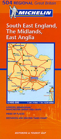 South East England, The Midlands and East Anglia #504 Regional Road and Tourist Map.