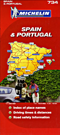 Spain and Portugal, Road and Tourist Map.