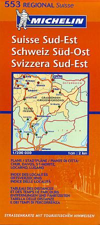 Switzerland, South East (Andermatt-Saint Moritz-Bolzano-Bozen) Section, Road and Tourist Map.