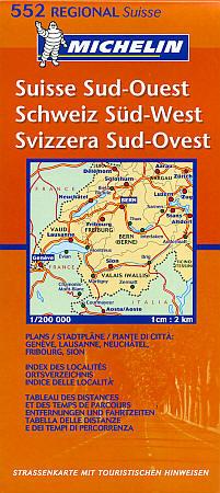 Switzerland, South West (Aosta-Aoste-Zermatt) Section, Road and Tourist Map.