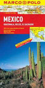 Mexico, Guatemala, Belize and El Salvador Road and Tourist Map. Marco Polo edition.
