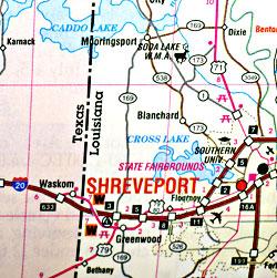 Louisiana Road and Tourist Map, America.