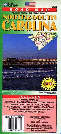 North Carolina and South Carolina Road and Tourist Map, America.