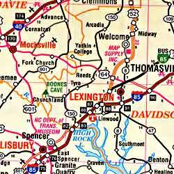 North Carolina Road and Tourist Map, America.