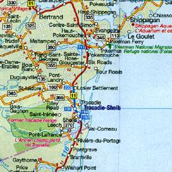 Canada Atlantic Provinces Road Map.