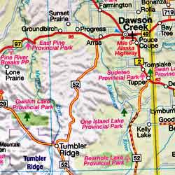 "British Columbia ""FastTrack"", Road and Tourist Map, Canada."