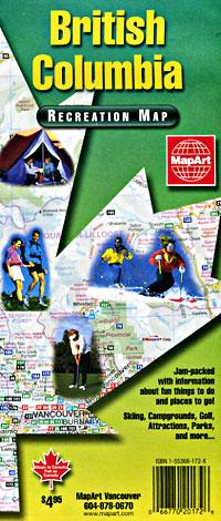 British Columbia Road and RECREATION Tourist Map, Canada.