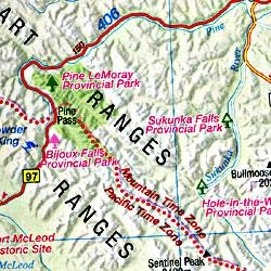British Columbia, Road and Tourist Map, Canada.