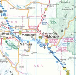 Idaho, Montana, and Wyoming Road and Tourist Map, America.