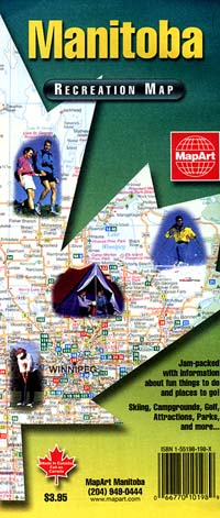 Manitoba Province Road and Recreation Map, Canada.