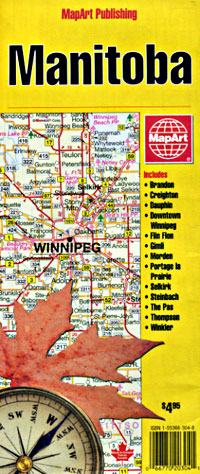 Manitoba Province Road and Tourist Map, Canada.