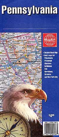 Pennsylvania Road and Tourist Map, America.