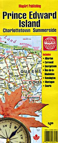 Prince Edward Island, Road and Tourist Map, Canada.