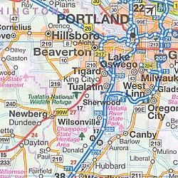 Washington and Oregon, Tourist Road Map, America.