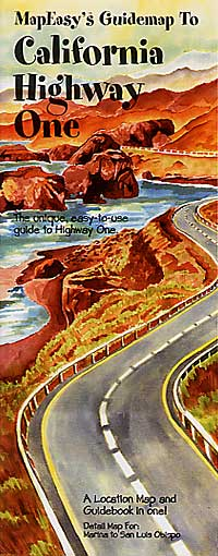"""California """"Highway One"""" Illustrated Pictorial Guide Map, America."""