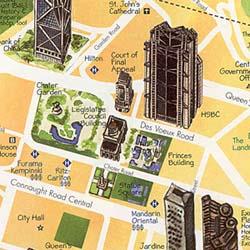HONG KONG Illustrated Pictorial Guide Map, China.