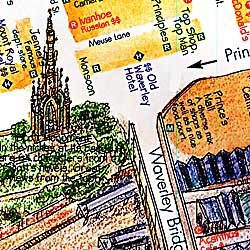 Scotland Road and Illustrated Pictorial Guide Map.