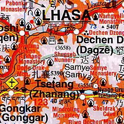 Tibet Road and Shaded Relief Tourist Map.