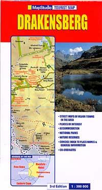 Drakensberg-KwaZulu-Natal Region, Road and Physical Tourist Map, South Africa.