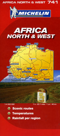 Africa, North West, Road and Tourist Map.