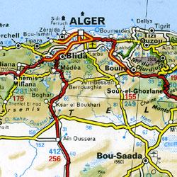 Africa, North West, Road and Tourist Map (includes Libya, Tunisia, Algeria, Morocco, Mauritania, Mali, Niger, Chad, Upper Volta, Senegal, Nigeria, Benin, Togo, Ghana, Ivory Coast, Liberia, Sierra Leone, Guinea, Guinea Bissau, and Gambia).
