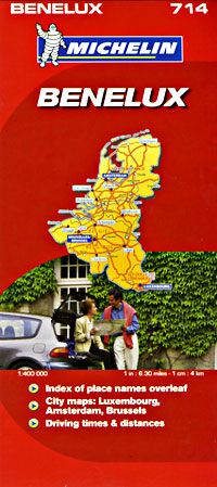 """Belgium, Luxembourg and The Netherlands (""""Benelux""""), Road and Shaded Relief Tourist Map."""