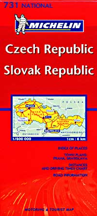 Czech and Slovak Republics, Road and Shaded Relief Tourist Map.